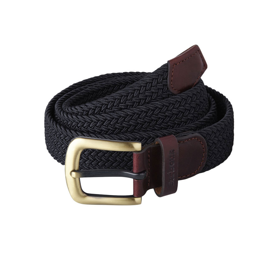 Barbour Stretch Webbing Leather Belt Navy Barbour Lifestyle: from the Classic capsule