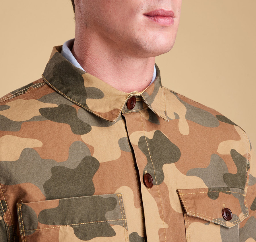Barbour Camo Button Thru Olive