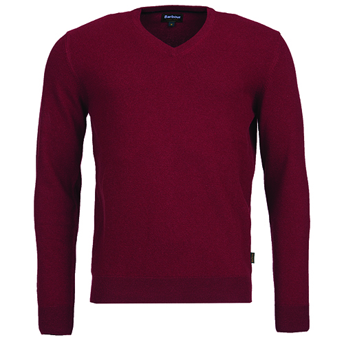 Barbour Harrow V Neck Jumper Rich Red Barbour Lifestyle: from the Tartan Collection
