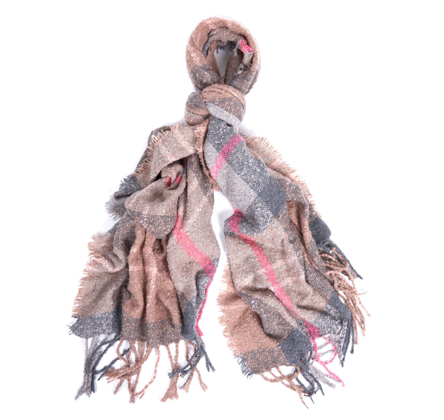 Barbour Tartan Boucle Scarf Winter Taupe Barbour Lifestyle: From the Winter Tartan collection