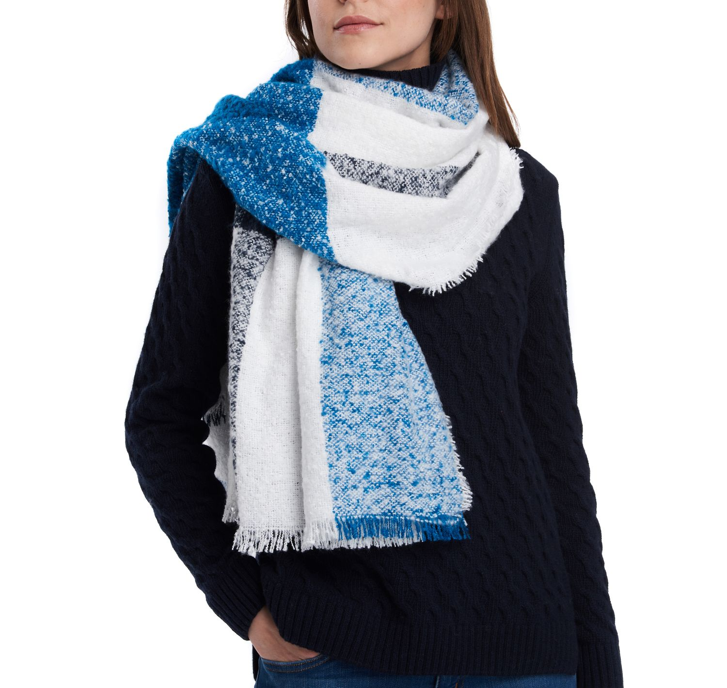 Barbour Plaid Boucle Scarf navy