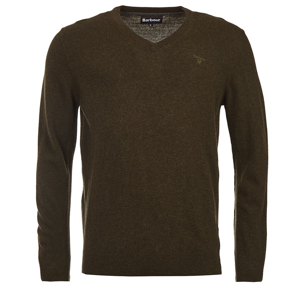 Barbour Barbour Essential Lambswool V Neck Sweater Olive Marl Barbour Lifestyle: from the Classic capsule