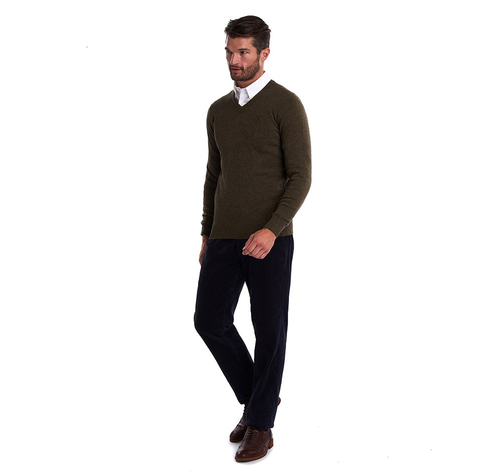 Barbour Essential Lambswool V Neck Sweater Olive Marl