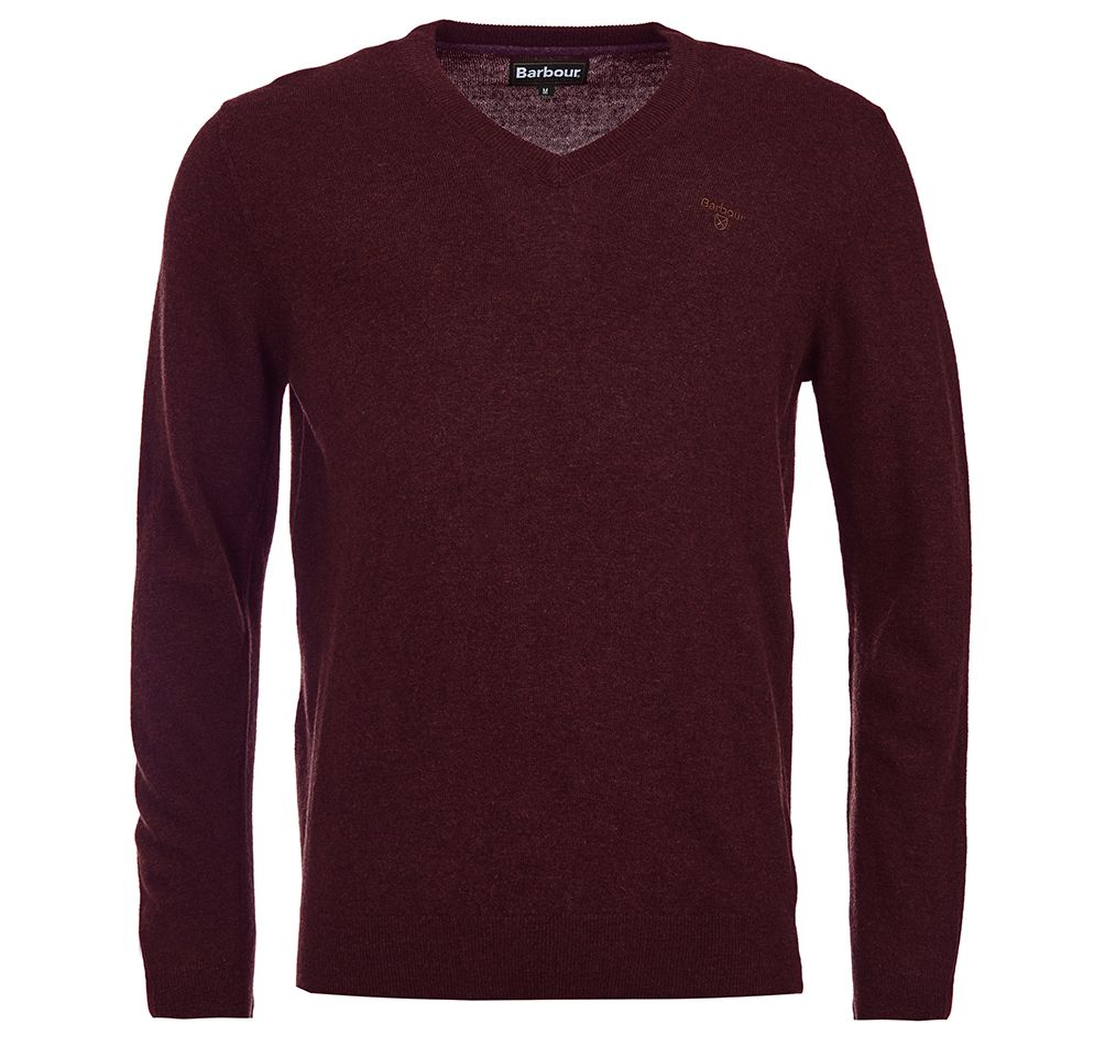 Barbour Essential Lambswool V Neck Sweater Merlot Barbour Lifestyle: from the Classic capsule