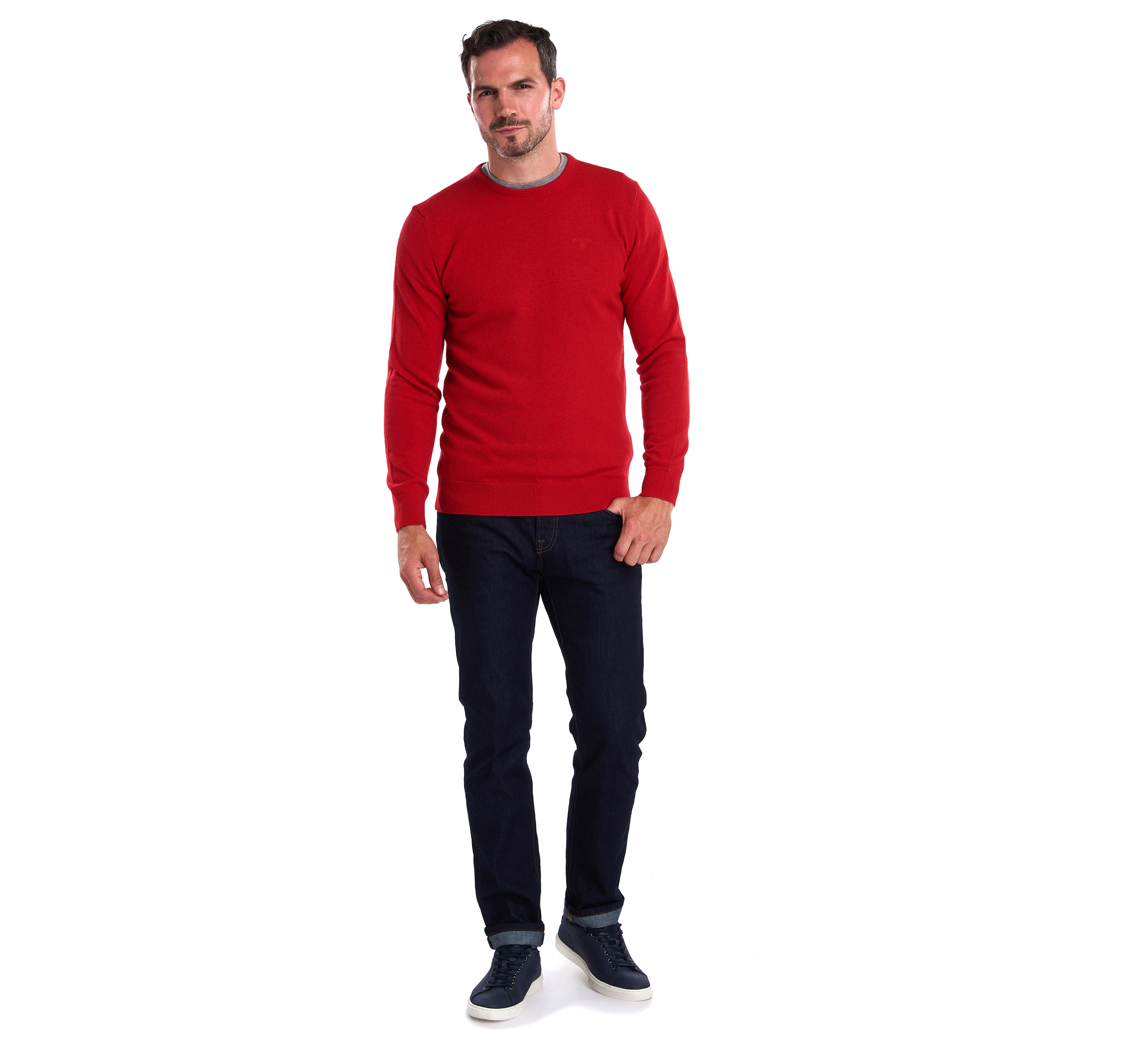 Barbour Essential Lambswool Crew Sweater Chilli Red