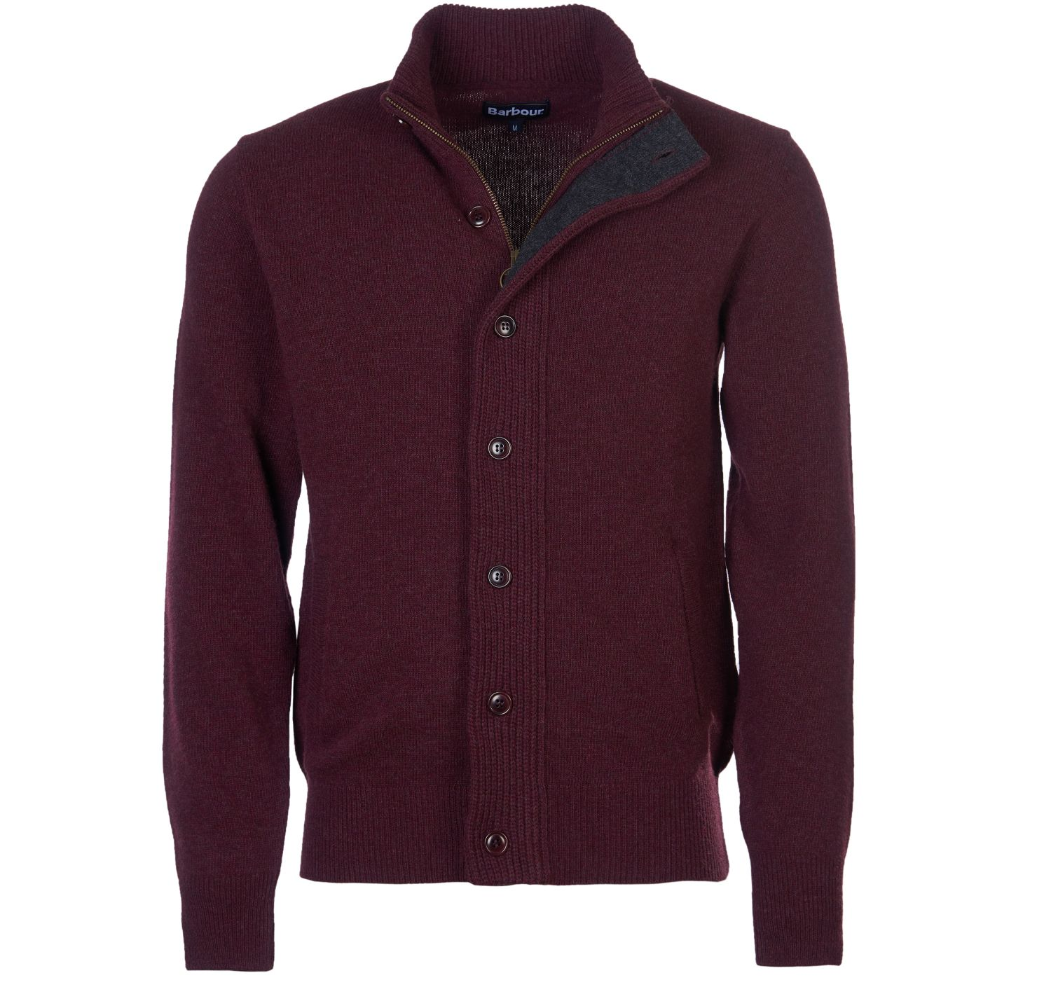 Barbour Patch Zip Thru Jumper Wine Barbour Lifestyle: from the Core Essentials collection
