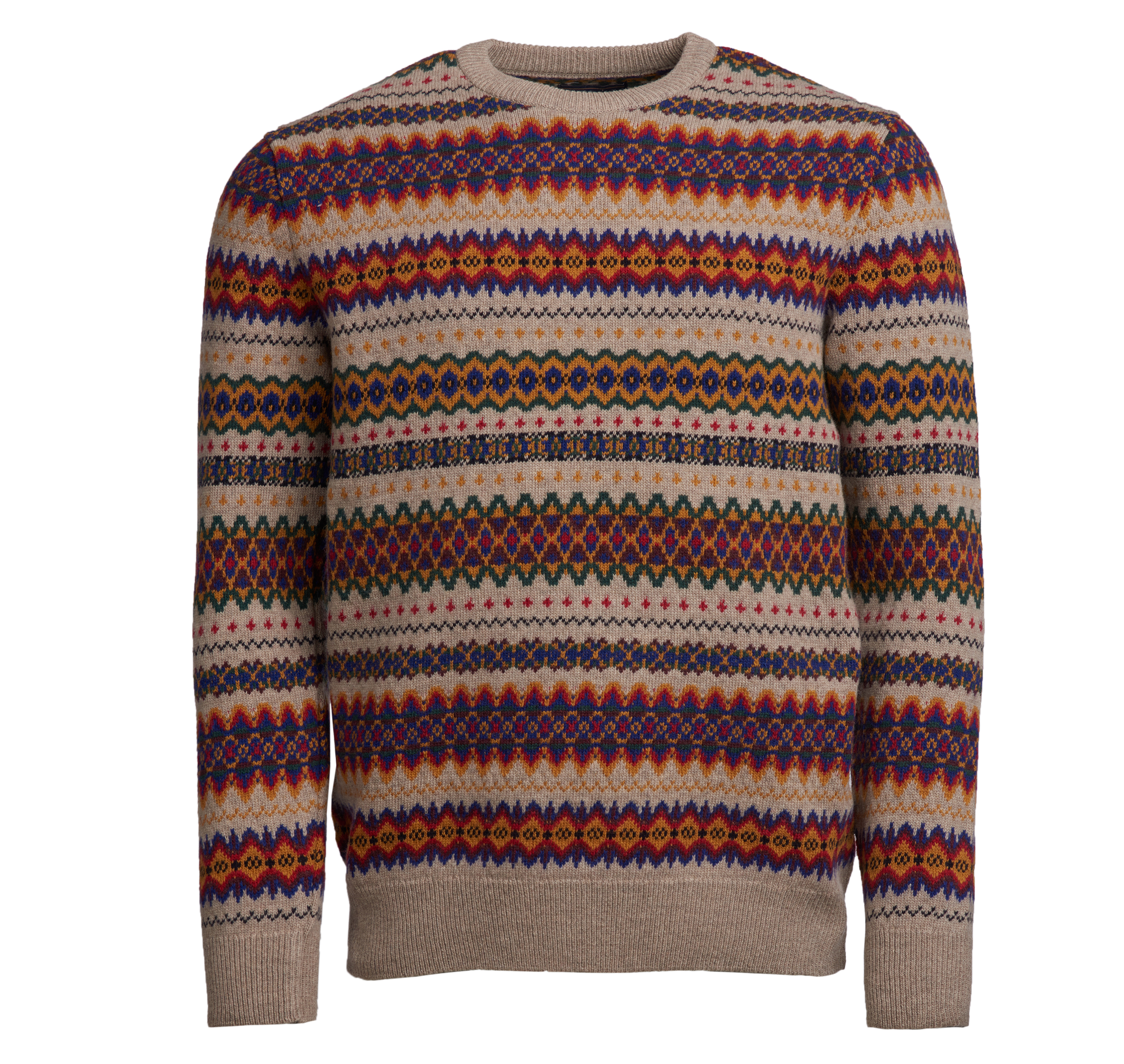 Barbour Barbour Case Fairisle Crew Neck Jumper Stone Barbour Lifestyle: From the Classic Tartan collection