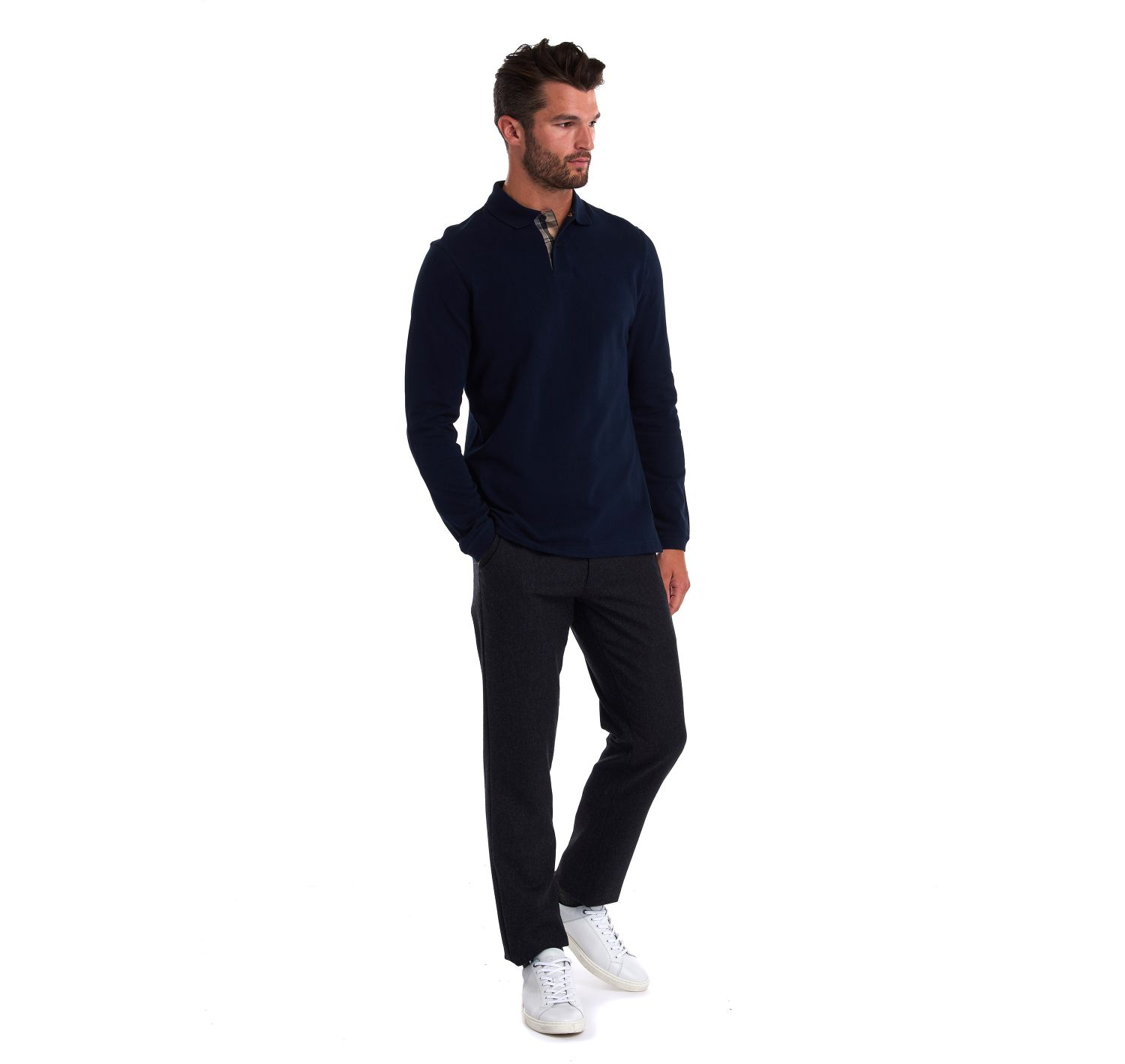Barbour Long Sleeved Sports Polo Navy