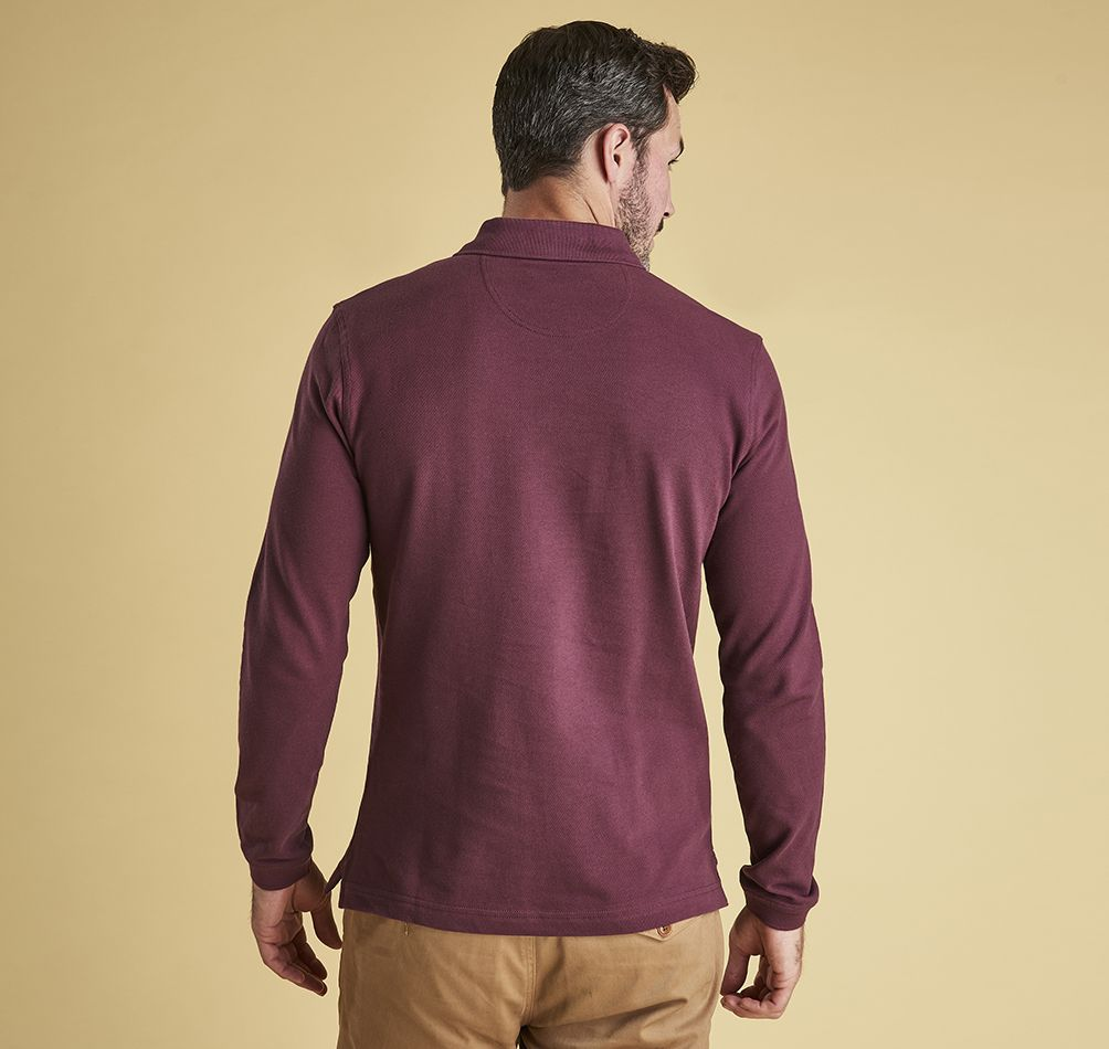Barbour Long Sleeved Sports Polo Merlot