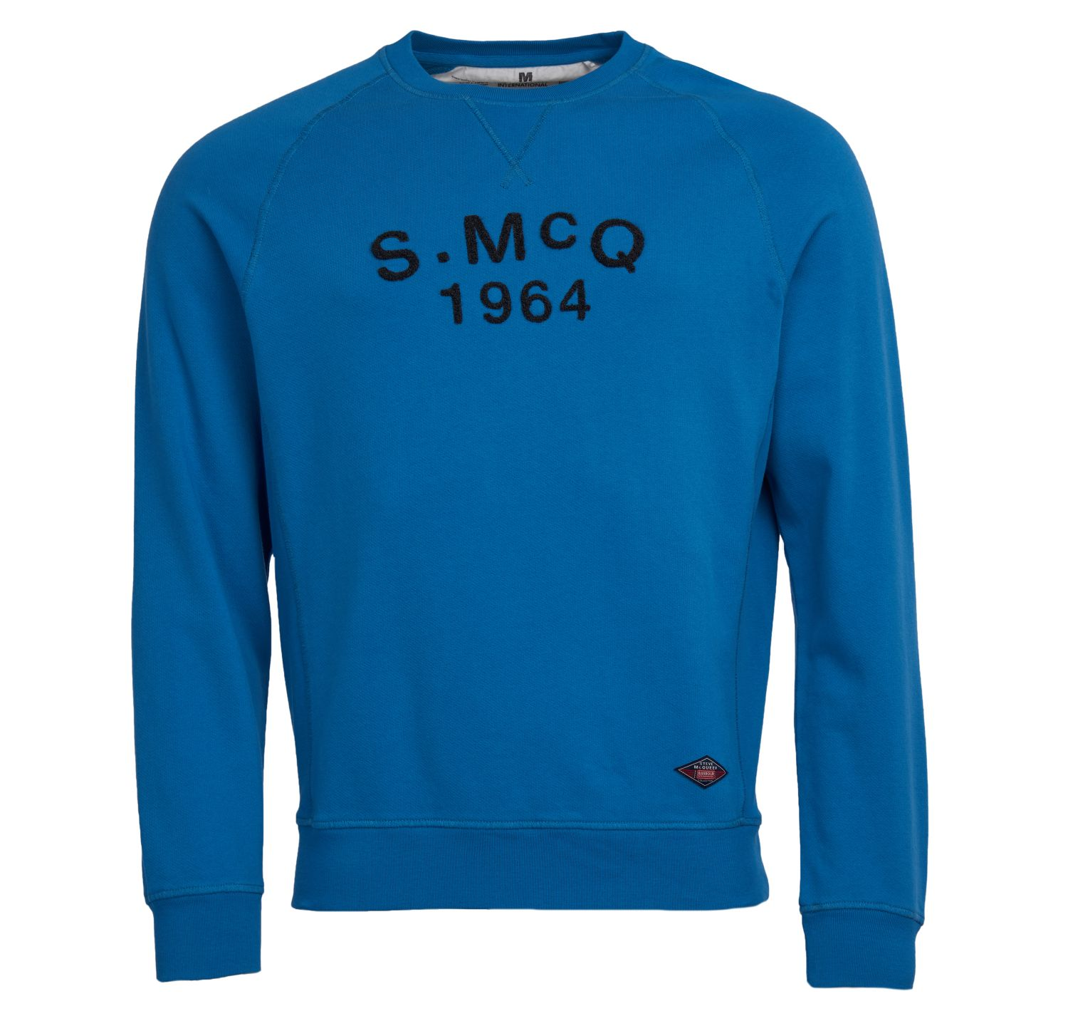 Barbour Raceway Crew Sweater Mid Blue Barbour International From Steve McQueen Collection