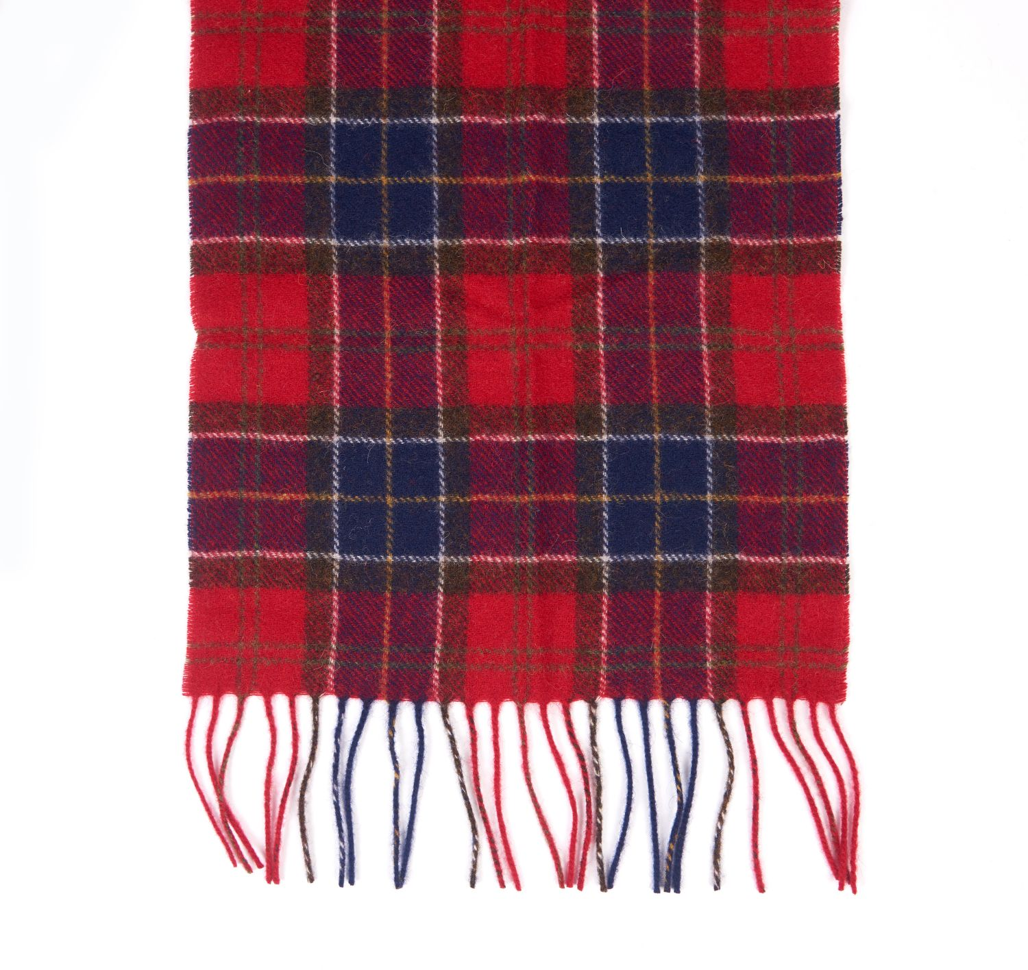 Barbour Tartan Lambswool Scarf Navy Red