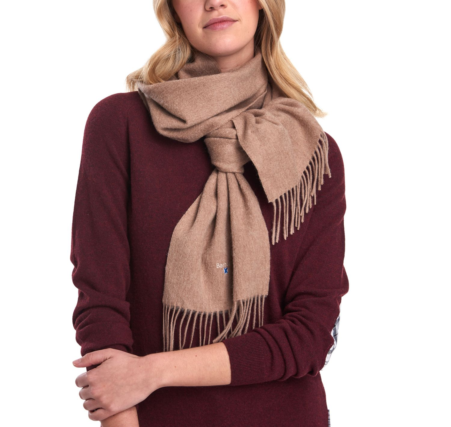 Barbour Plain Lambswool Scarf Fossil