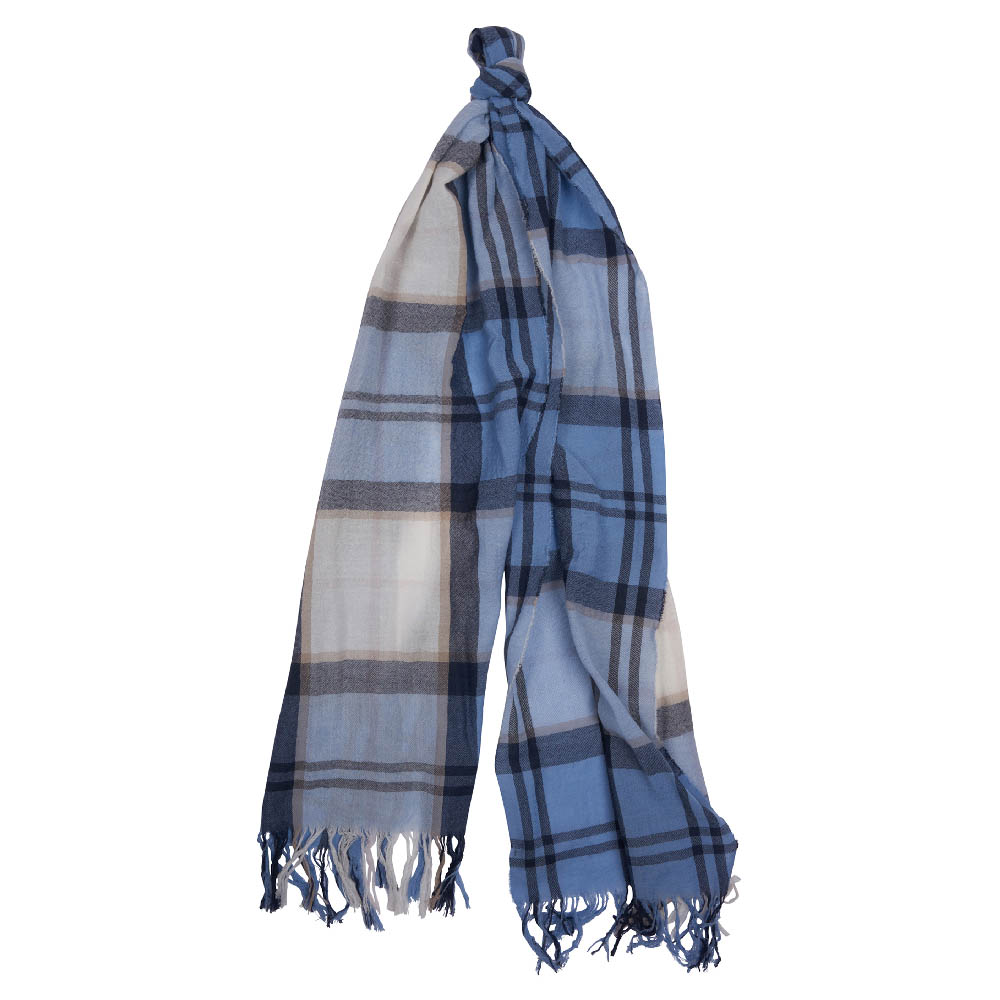 Barbour Shield Tartan Scarf Blue