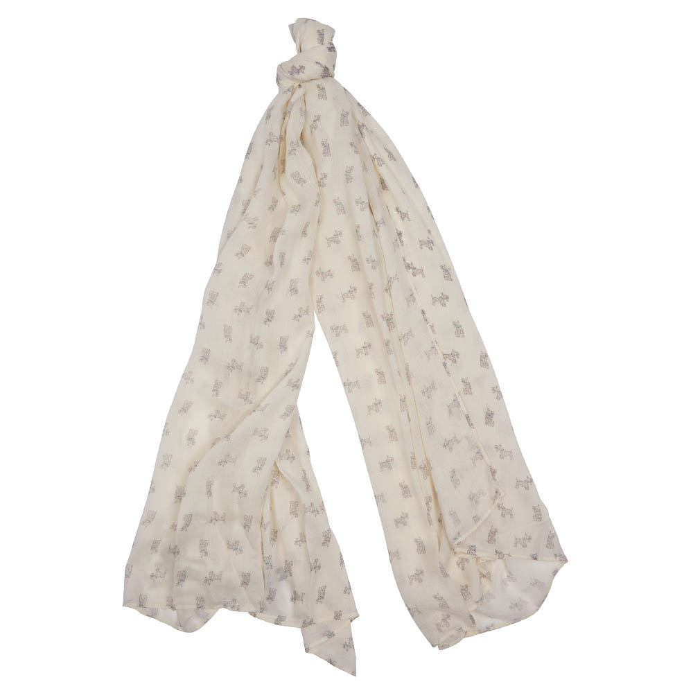 Barbour Dog Print Scarf White Barbour Lifestyle