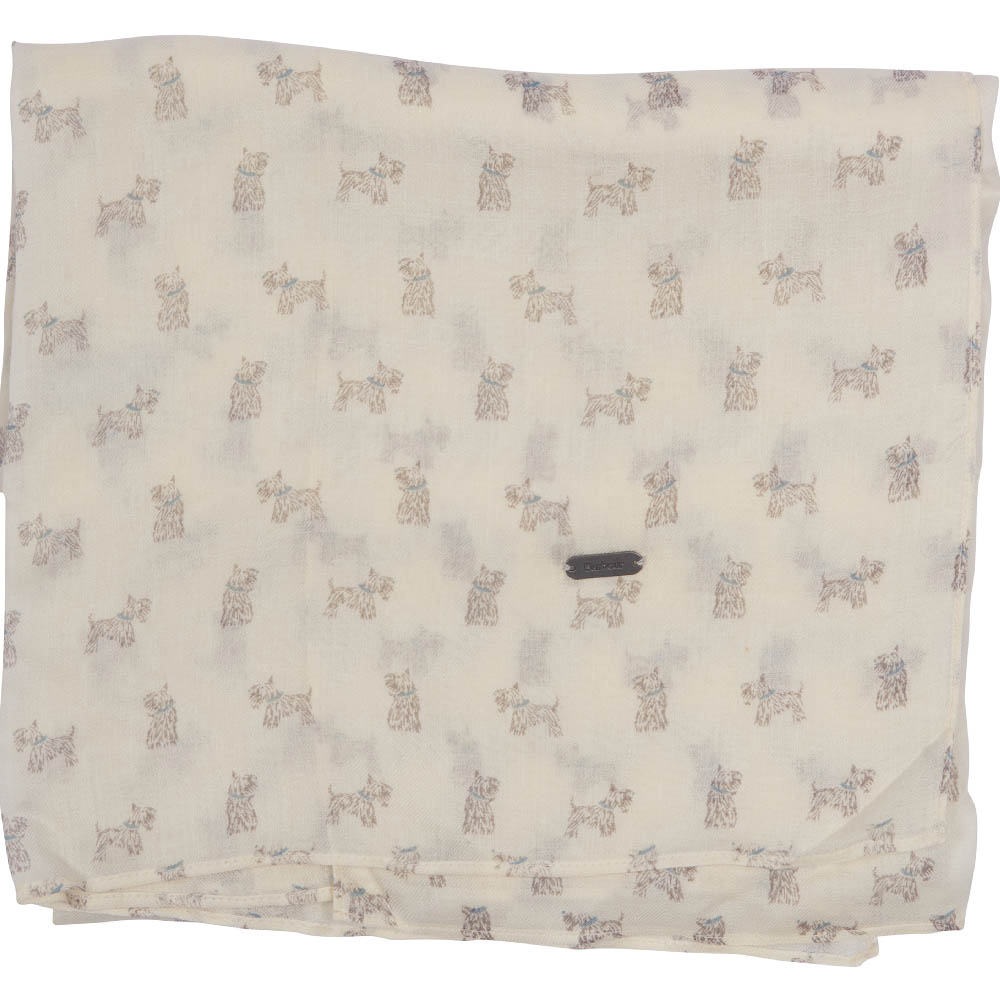 Barbour Dog Print Scarf White