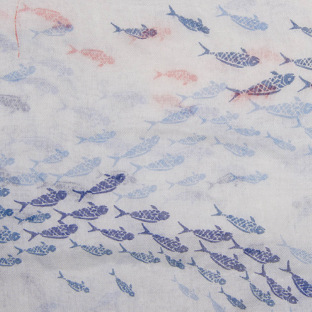 Barbour Shoaling Fish Print Scarf