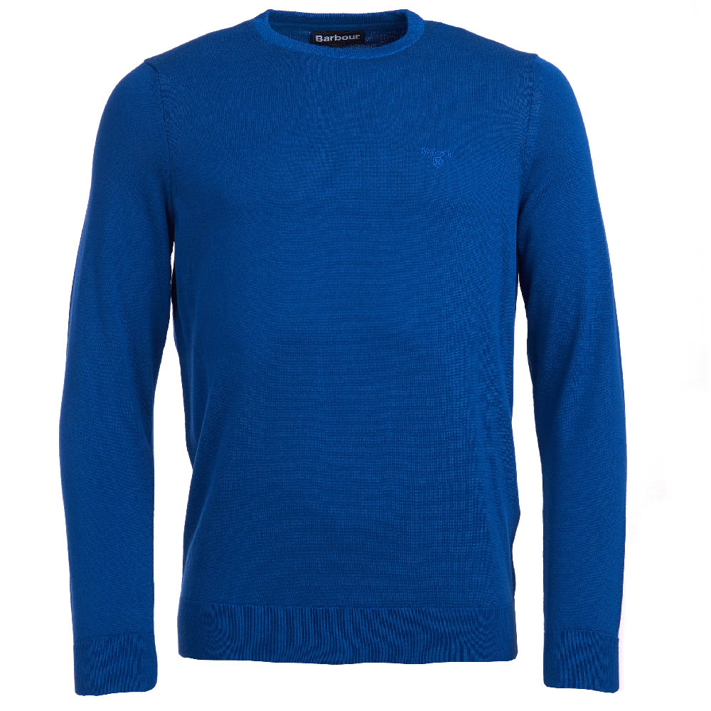 Barbour Light Cotton Crew Neck Sweater Bright Blue Fit Regular