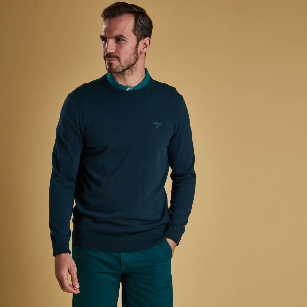 Barbour Light Cotton Crew Neck Sweater Spruce