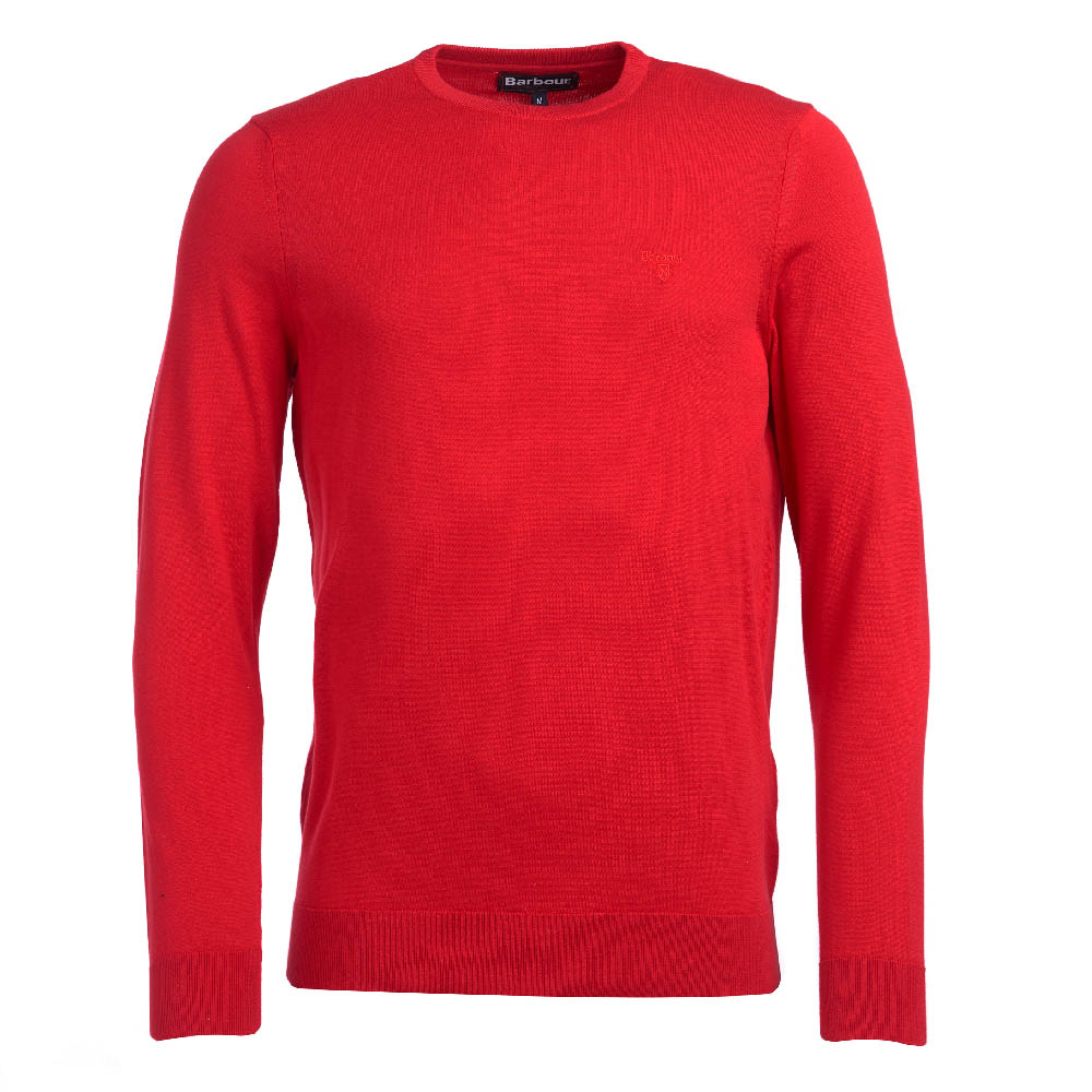 Barbour Light Cotton Crew Neck Sweater Red Fit Regular