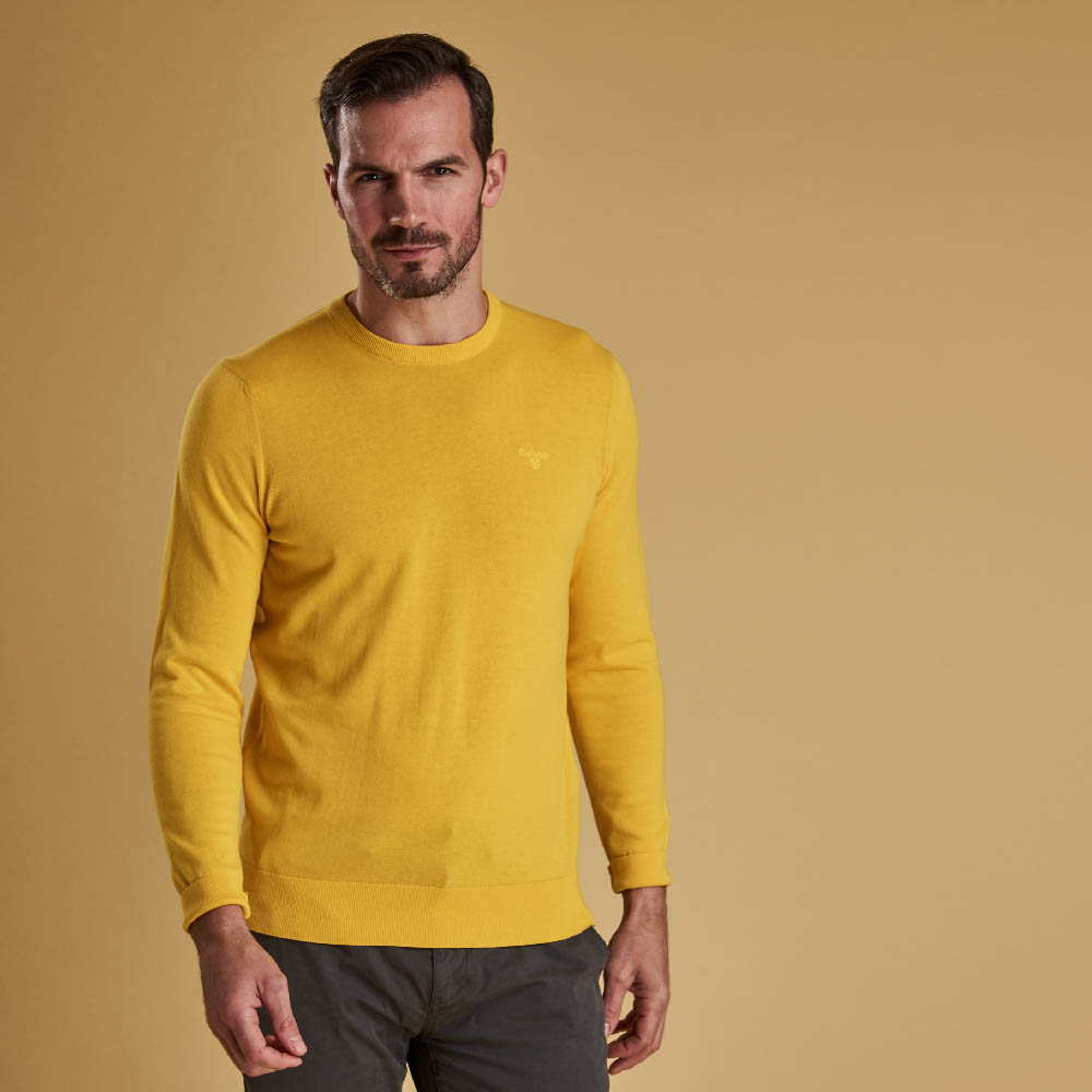 Barbour Light Cotton Crew Neck Sweater Yellow