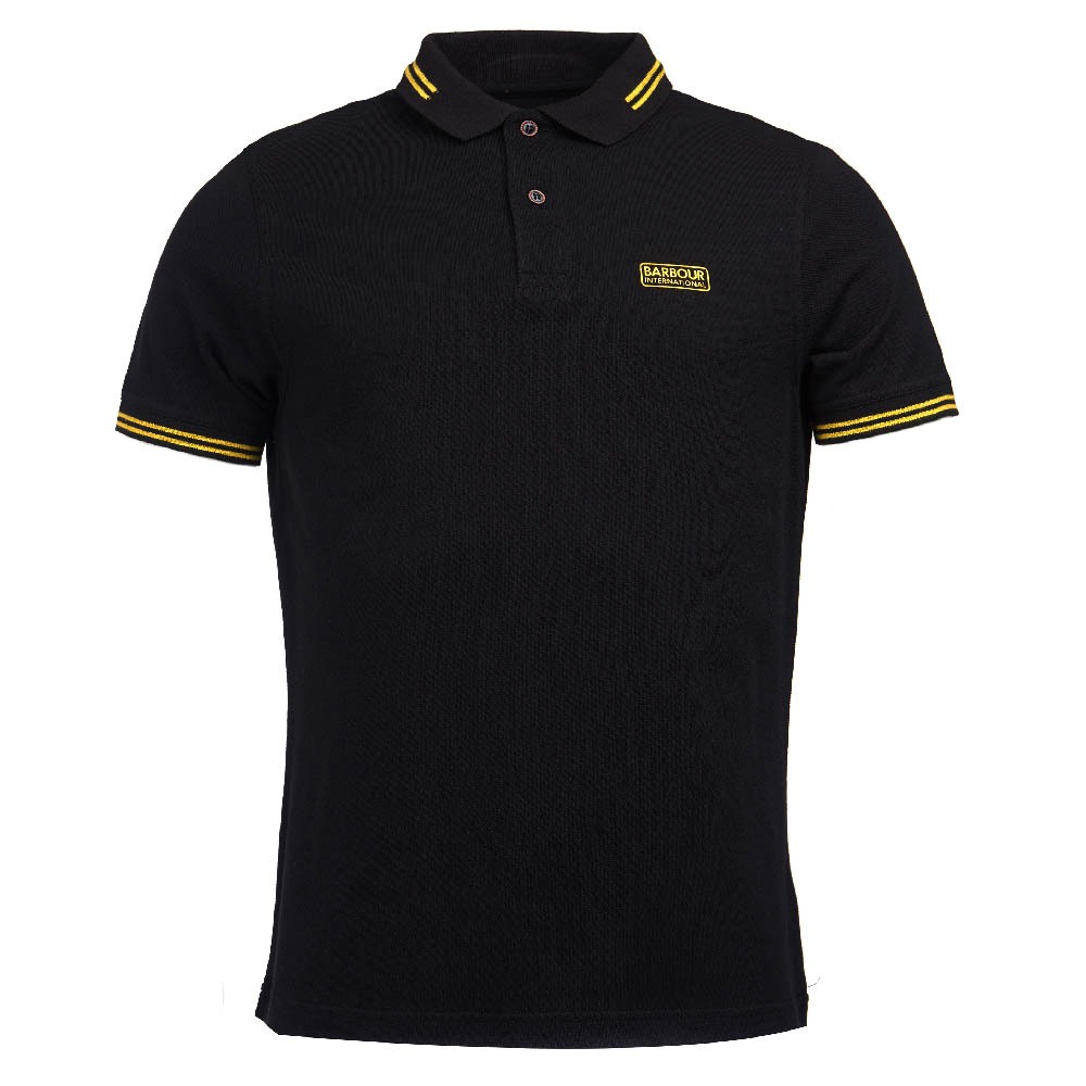 Barbour International Essential Tipped Polo Shirt Black Barbour International