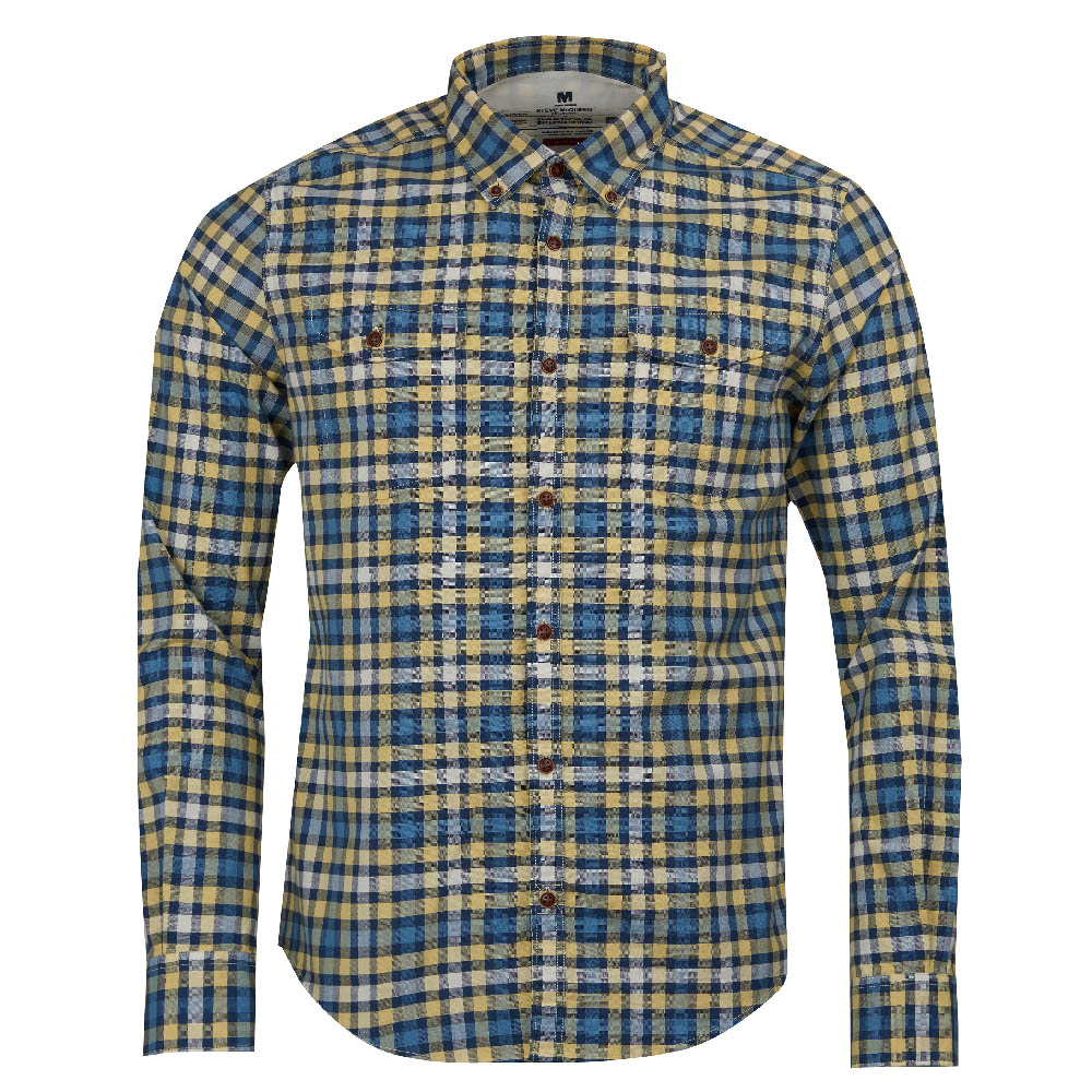 Steve McQueen Output Check Slim Fit Shirt Yellow FIT: Slim