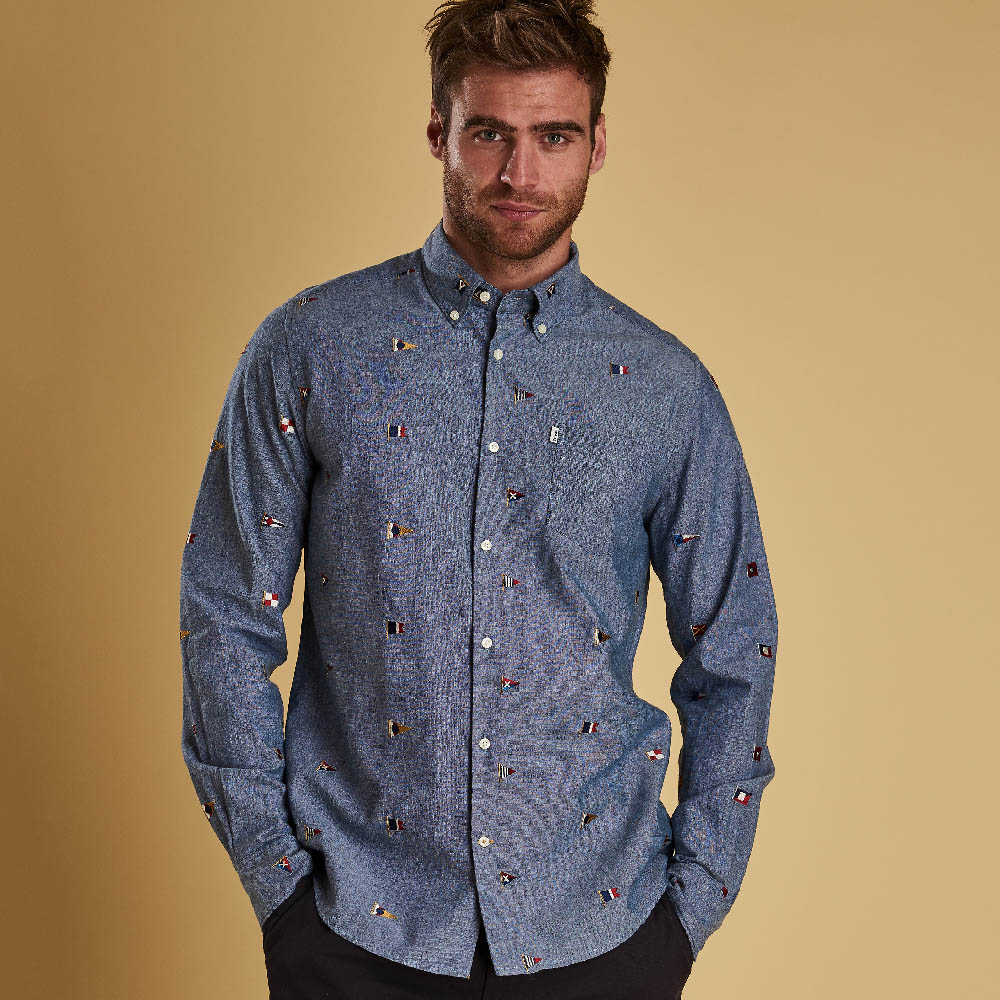 Barbour Chambray Flag Tailored Fit Shirt Indigo