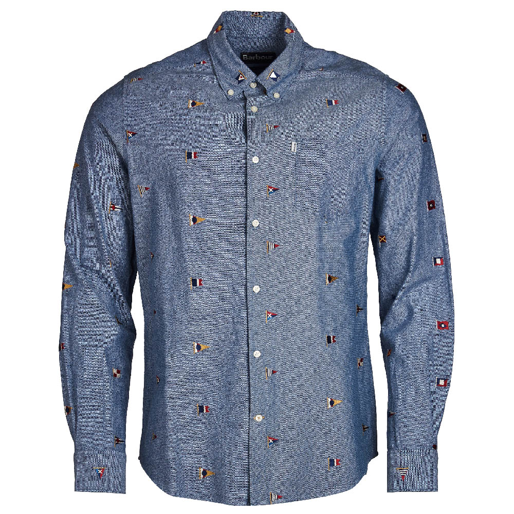 Barbour Chambray Flag Tailored Fit Shirt Indigo FIT: Tailored
