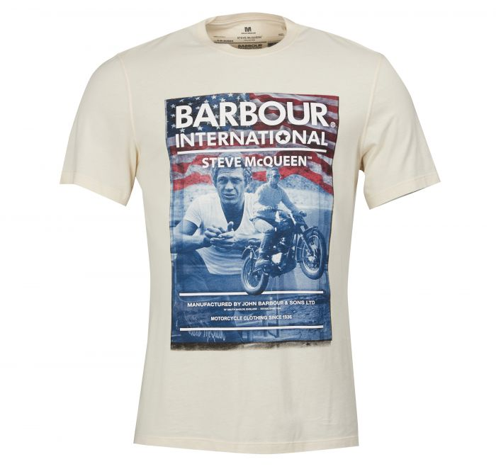 Barbour SMQ Hero Tee Shirt Chalk Barbour International From Steve McQueen Collection