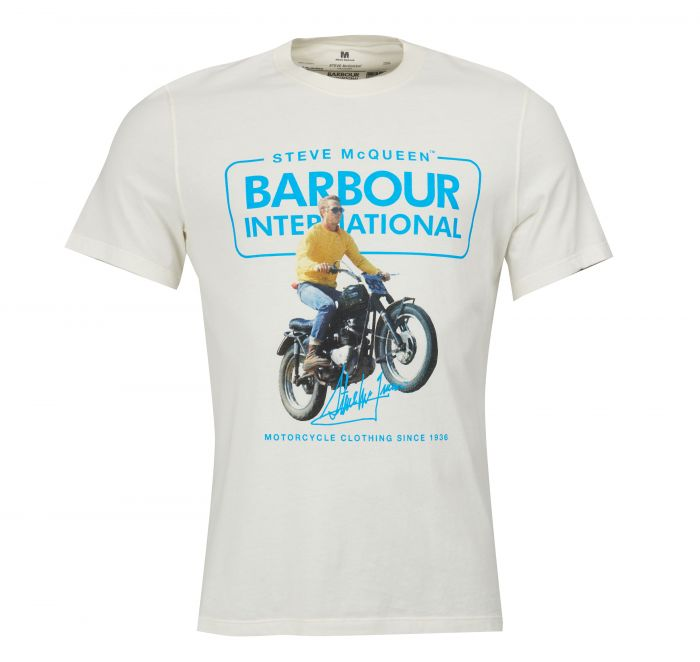 Barbour SMQ Cooler Tee Shirt White Barbour International From Steve McQueen Collection