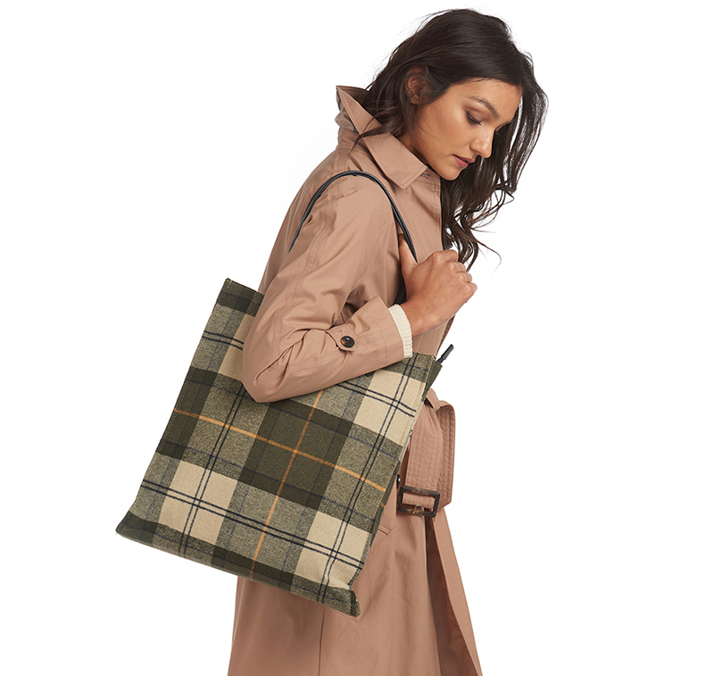 Barbour Tain Tartan Shopper Bag Ancient