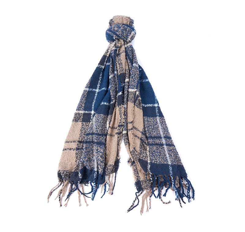 Barbour Tartan Boucle Scarf Winter Blue T