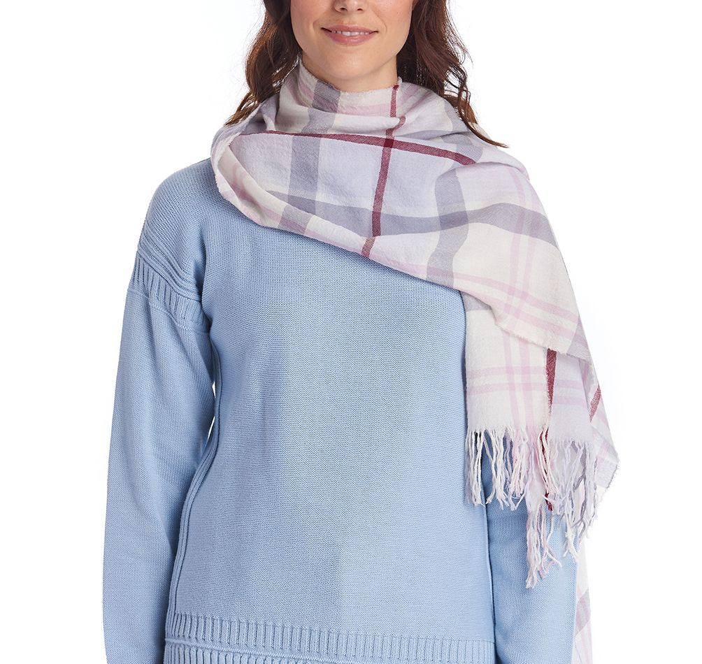 Barbour Shield Tartan Scarf Platinum Barbour Lifestyle: From the Summer Dress Tartan collection