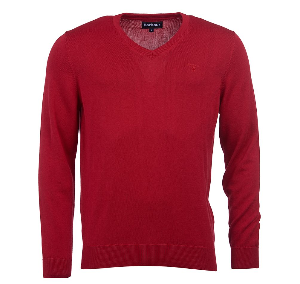 Pima Cotton V Neck Chilli Red Barbour Lifestyle: From the Core Essentials collection