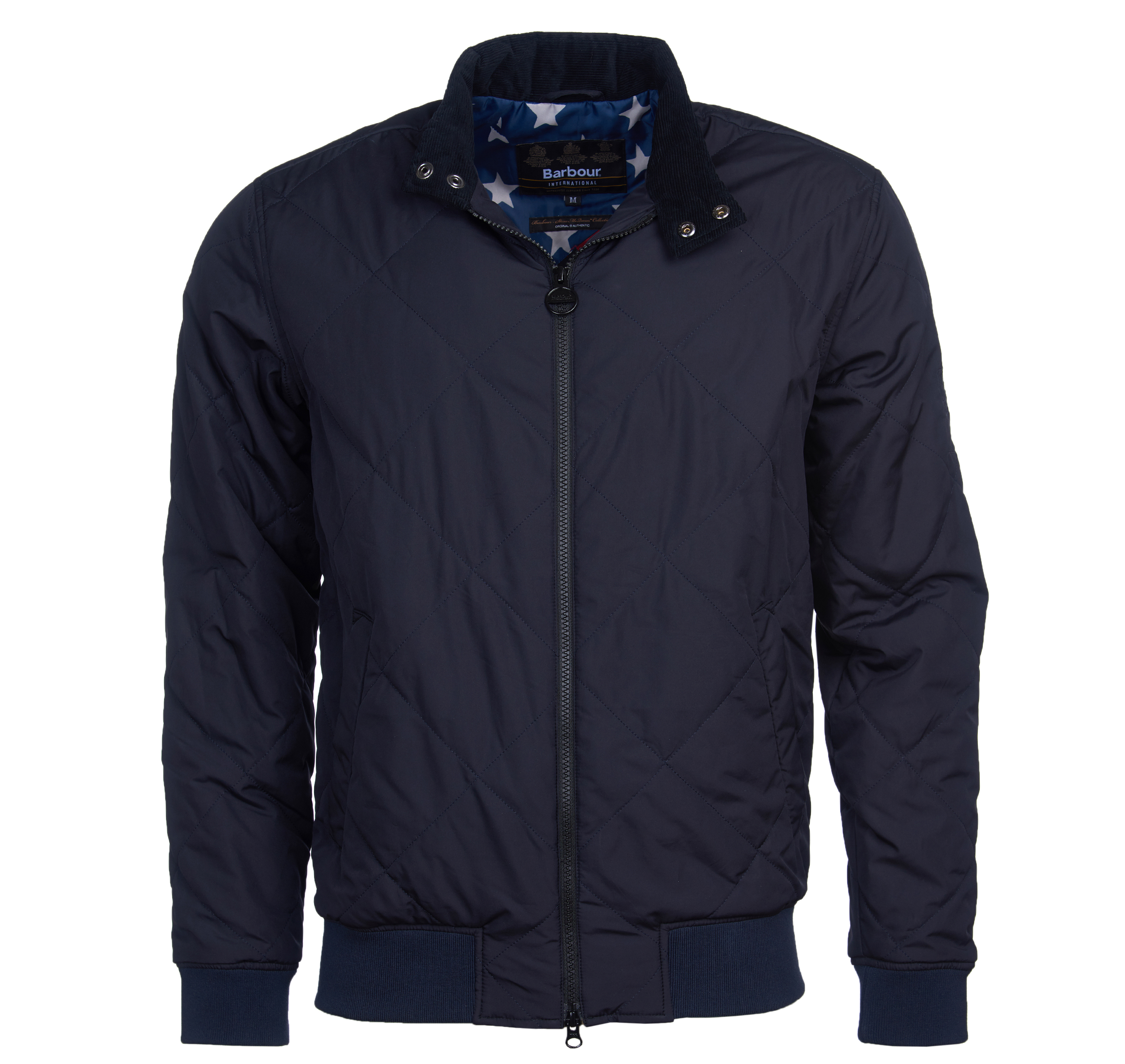 B. Intl. Steve McQueen Glance Quilted Navy Barbour International: from the Steve McQueen capsule