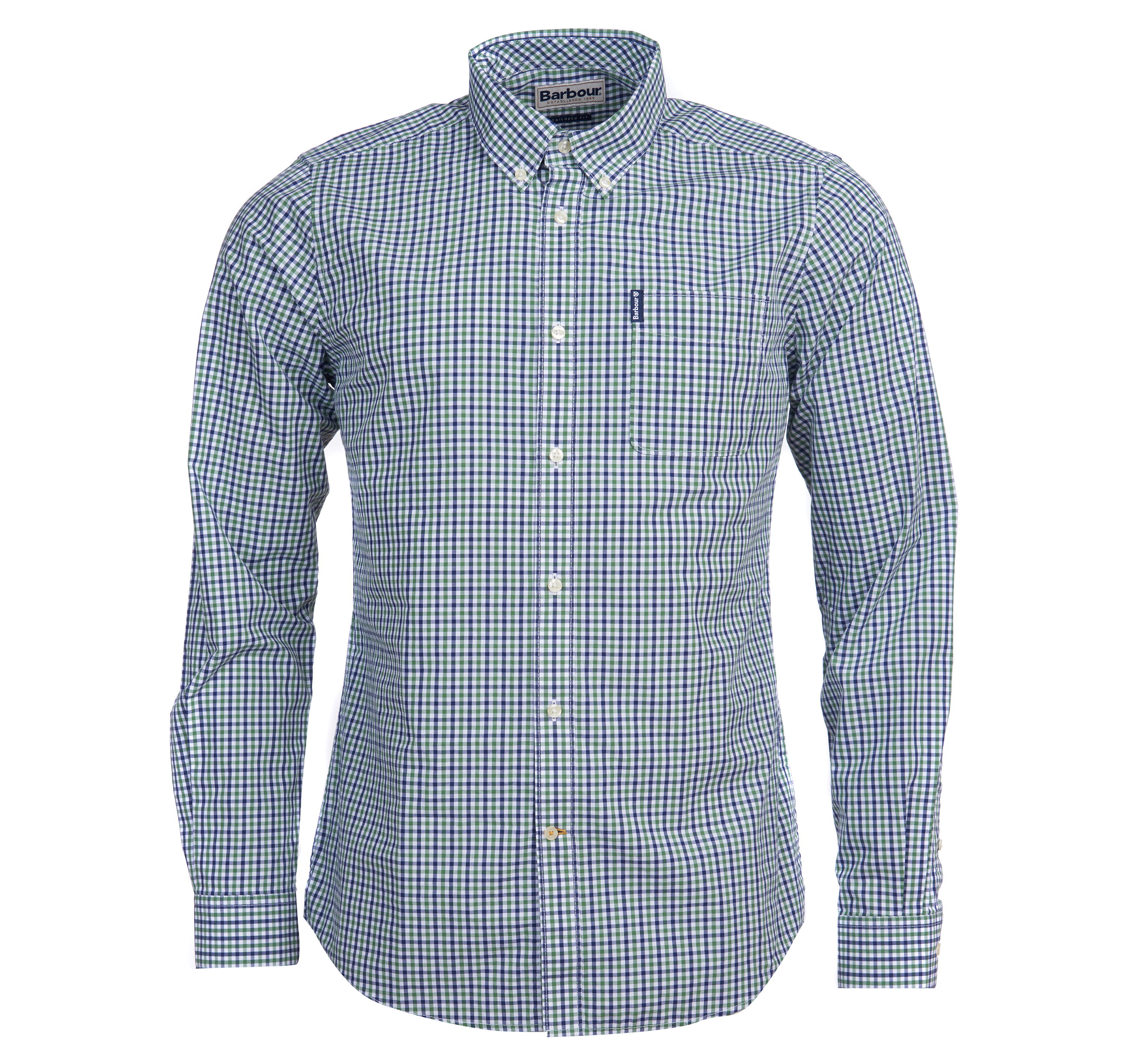 Barbour Barbour Gingham 16 Tailored Shirt Green Tailored Fit