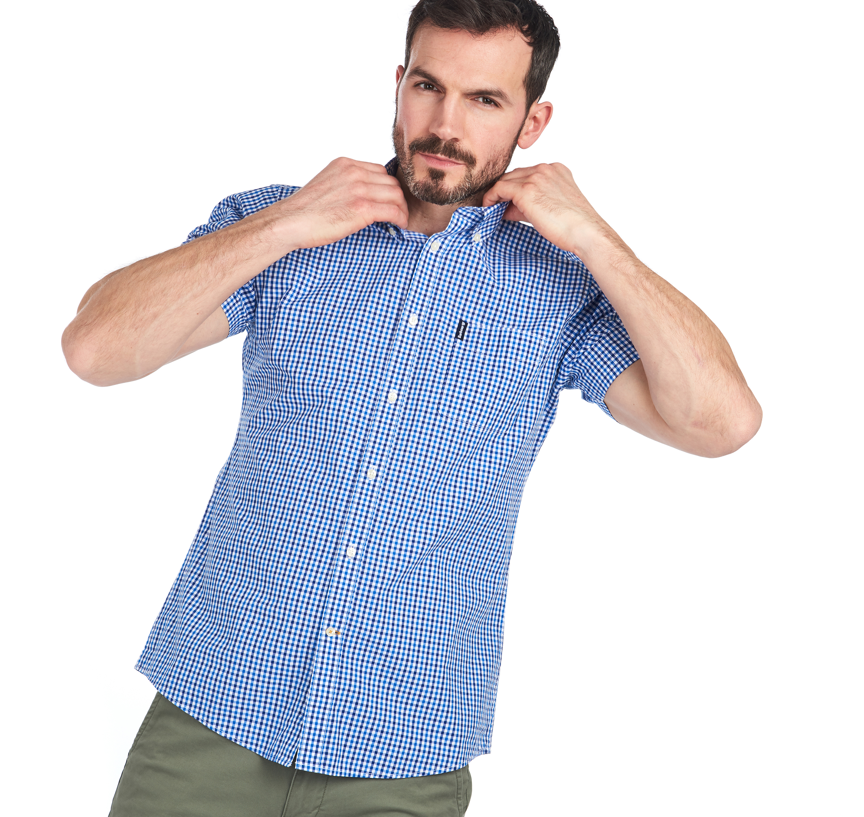 Barbour Gingham 16 Tailored Short Sleeved Shirt Blue