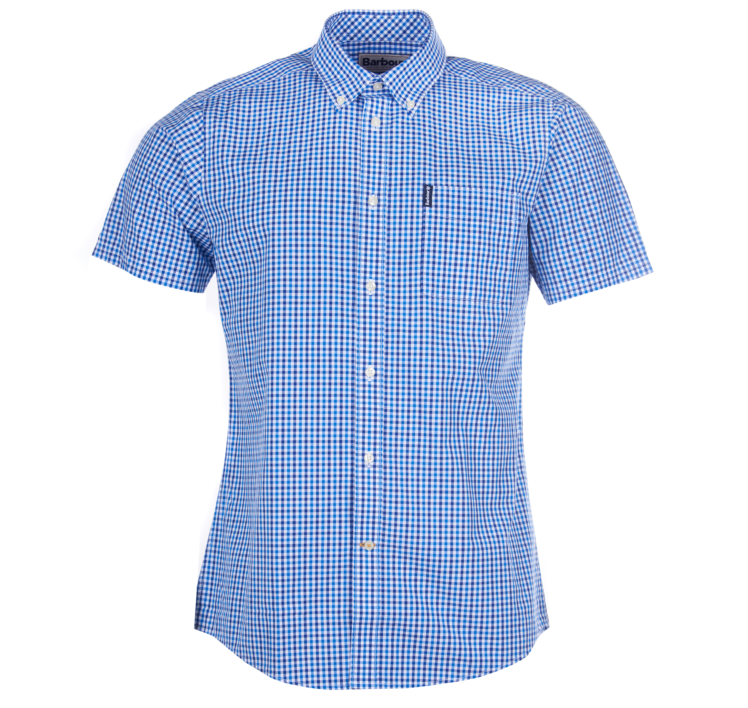 Barbour Gingham 16 Tailored Short Sleeved Shirt Blue Tailored Fit