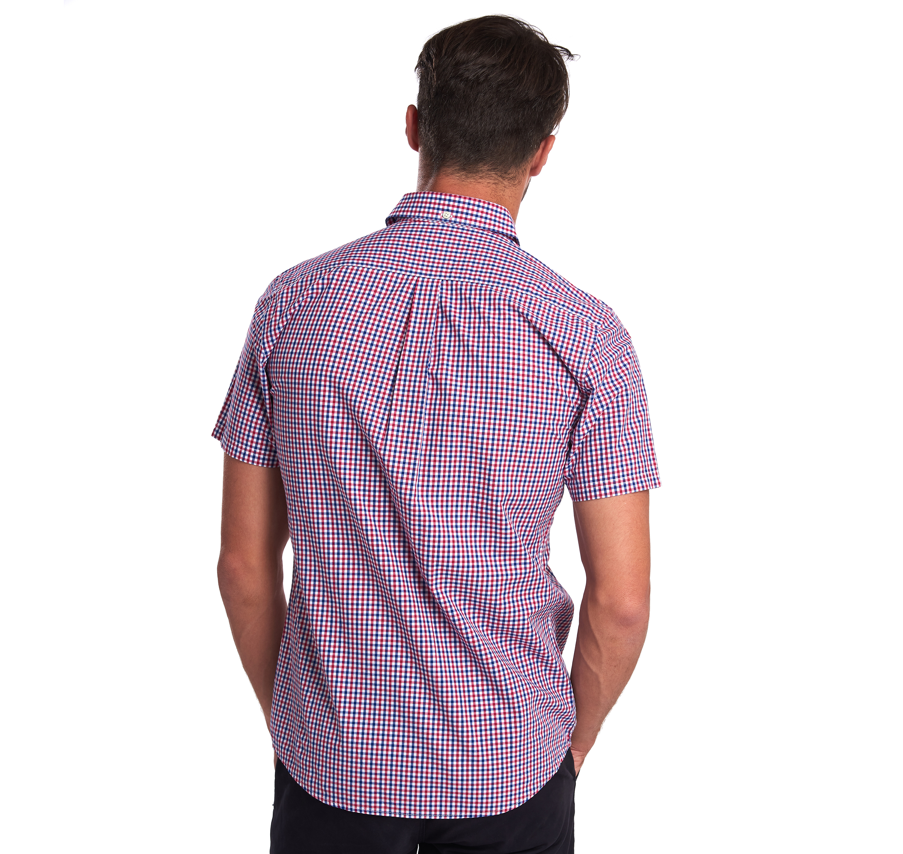 Barbour Gingham 16 Tailored Short Sleeved Shirt Red