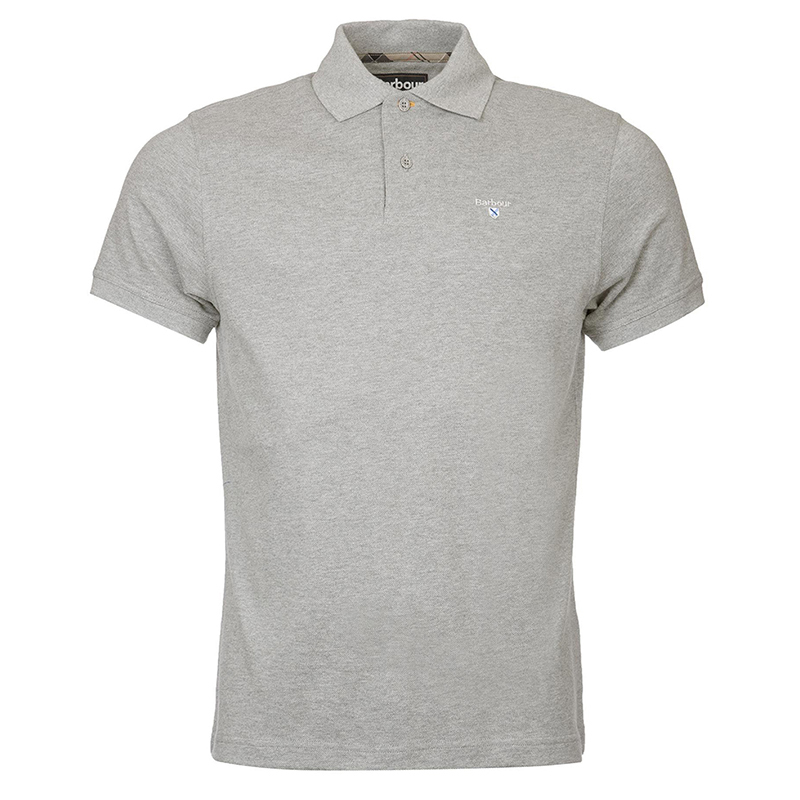 Barbour Tartan Pique Polo Shirt Gray Marl Perfecto para el verano