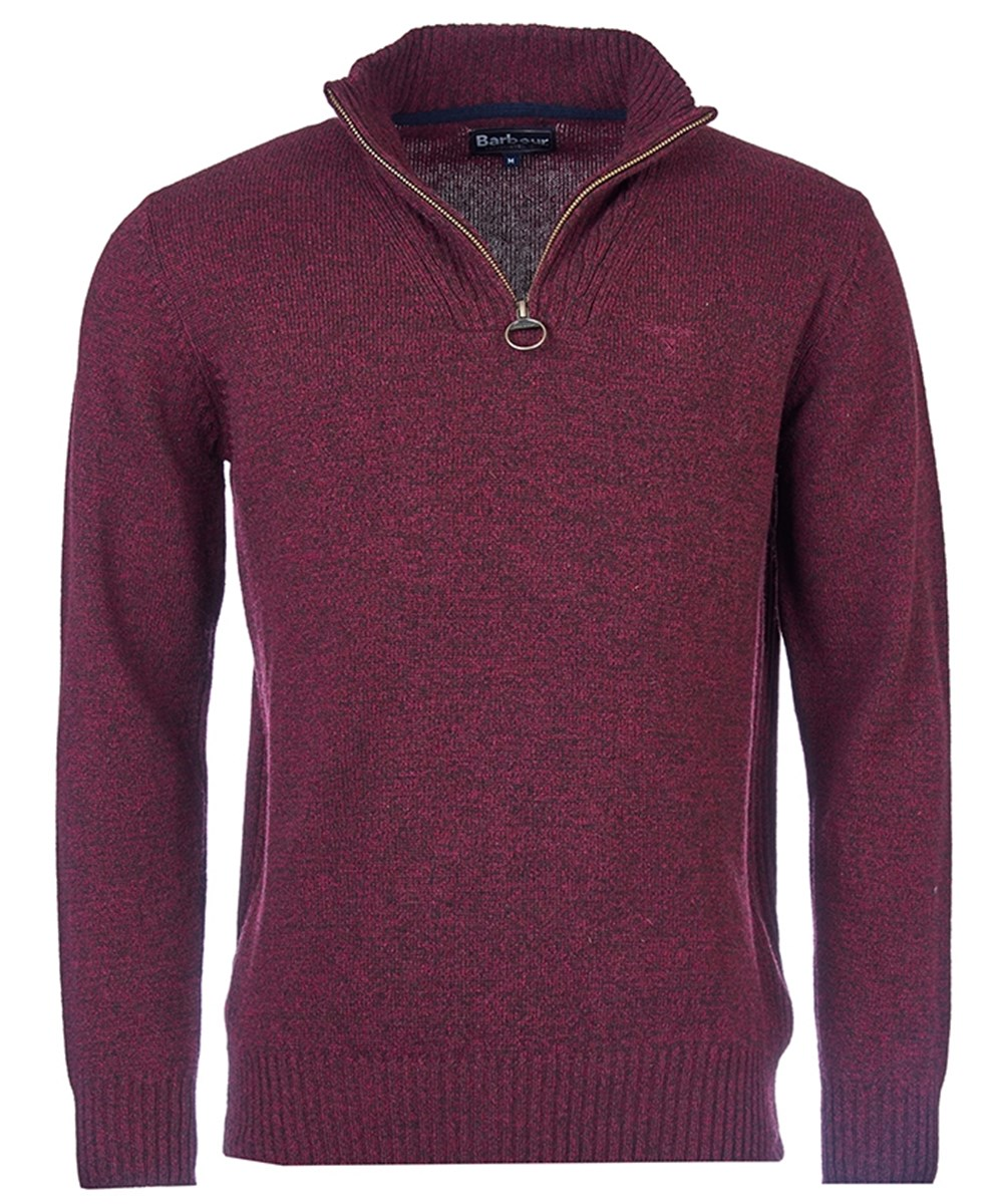 Barbour Essential Lambswool Half Zip Jumper Merlot Mix Barbour Lifestyle: from the Classic capsule