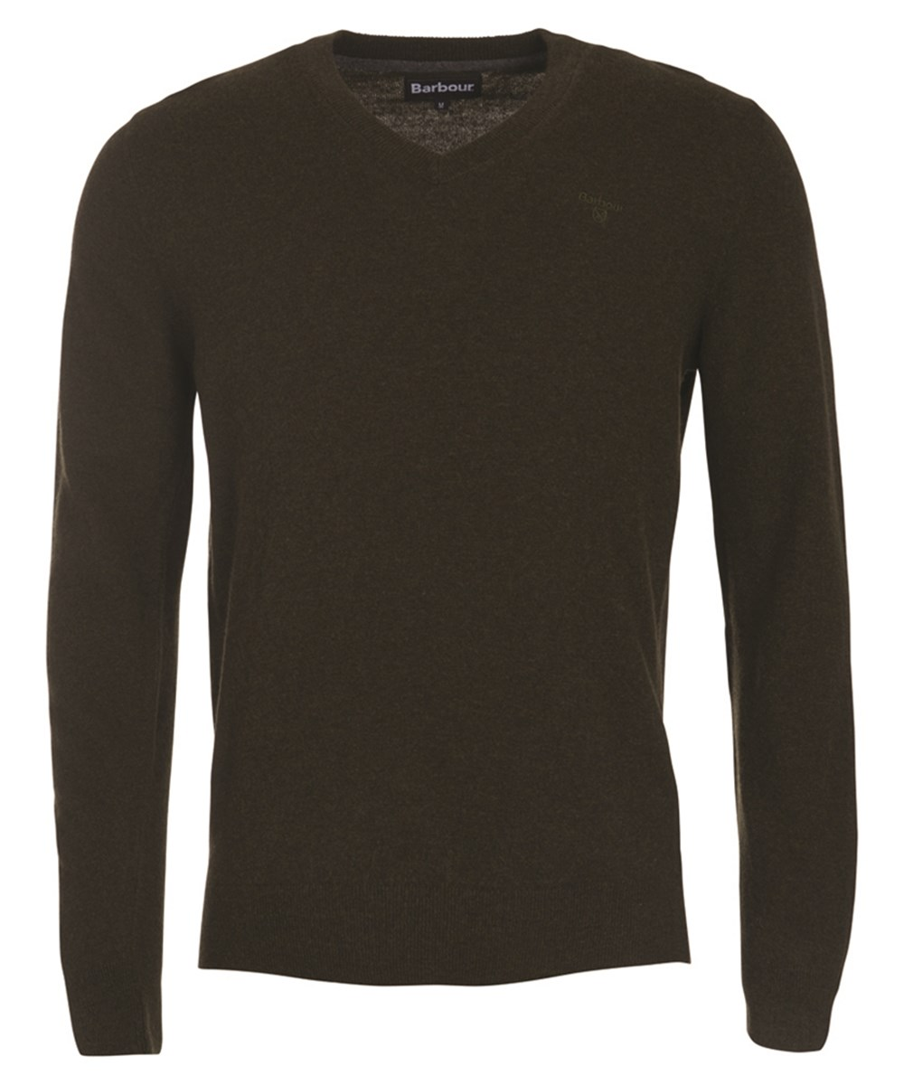 Barbour Essential Lambswool V Neck Sweater Olive Marl Barbour Lifestyle: from the Classic capsule