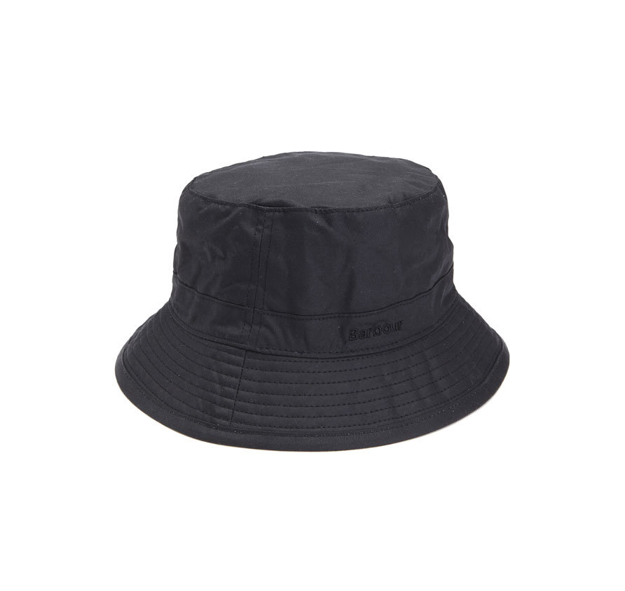 Barbour Barbour Wax Sports Hat Black Clásico gorro de lluvia Barbour